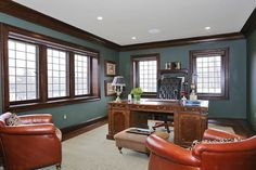 Stately, yet comfortable, this NJ home office means business -without being too stuffy.