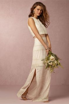 """It really doesn't matter what your dream wedding dress looks like. BHLDN's spring 2016 collections spans so many styles and silhouettes, there's a dream dress in there for almost every bride. Looking for texture? Check. (See: the Gabriella Gown.) Want an dramatic hemline? Check. (The Vega Dress will totally wow your guests.) In the market for something affordable? Gowns start at just $300 and max out at $2,900, with many below the $1,500 mark. Oh, and if """"fancy designer label"""" is on your…"""