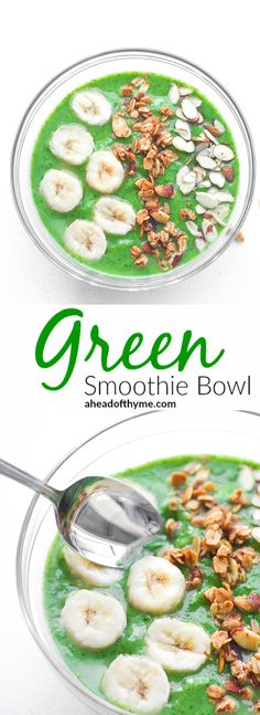Green Smoothie Bowl: Start your morning right with a delicious, nutritious green smoothie bowl packed with spinach, avocado and banana. Quick and easy to make | aheadofthyme.com