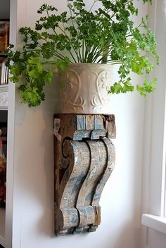 Wood corbels.
