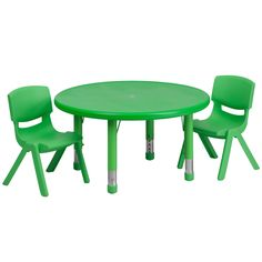 "Flash Furniture 33"" Round Adjustable Plastic Kids Activity Table With 2 Chairs"