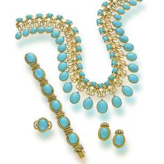 A suite of turquoise, diamond and eighteen karat gold jewelry