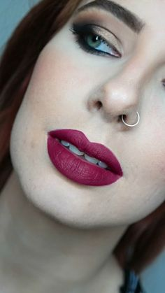 Natural lips filled with burgandy