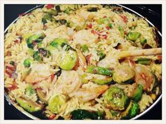 This is basically what I made last night -- Lemon orzo with shrimp and brussels sprouts