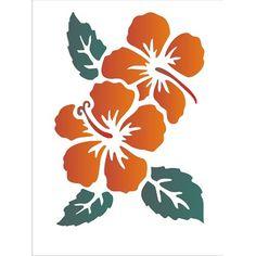 Estencil-para-Pintura-Simples-15x20-Flores-Hibiscos-II-OPA1012---Opa