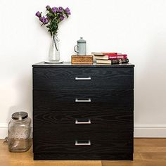 Miadomodo Wooden Rustic Dresser Storage Unit Chest of Drawers 3 Wicker Baskets White Lacquered Sideboard Commode