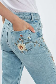 MOTO Floral Embroidered Mom Jeans - New In This Week - New In - Topshop