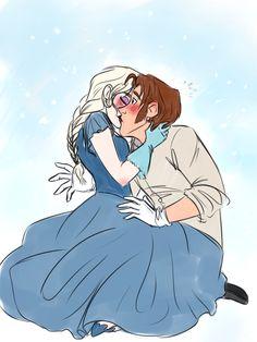 Elsa and Hans. But i ship elsa and jack. Disney Kiss, Disney Couples, Disney Fan Art, Disney Dream, Disney Love, Elsa Frozen, Disney Frozen, Daft Punk, Jelsa
