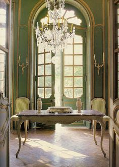 Picture of Elegance Blog: A Story of a House. Amazing Chateau restoration by Lillian and Ted Williams see this blog. French blues and Greens used in this magnificent entrance hall.