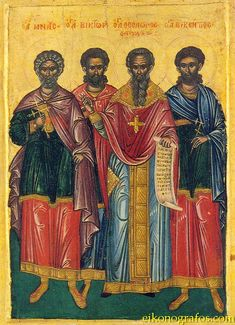 Full of Grace and Truth: Sts. Menas, Victor and Vincent (Vikentios) the Martyrs Sainte Cecile, Orthodox Icons, Illuminated Manuscript, Jesus Christ, Savior, Art And Architecture, Catholic, Saints, Painting