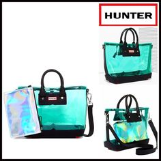 HUNTER Original Tote Crossbody 💟NEW WITH TAGS💟  AMAZING!  HUNTER Original Clear Midi Mini Tote  * Exterior-clear construction w/black trim  * Dual top leather handles, lobster clasp top closure, & detachable strap  * Leather zippered mini pouch & dust bag included  * A firm structure bottom  * Hunter logo detail   Material: PVC & leather, leather pouch Color:Clear/Black Item:H917900 # Saddle bag bucket neon 🚫No Trades🚫 ✅ Offers Considered*/Bundle Discounts✅ *Please use the 'offer' button…