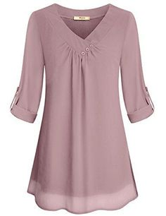 Miusey Ladies Chiffon Blouses, Juniors Summer Casual V Neck Cuffed Sleeve Pleated Curved Hem Office Flattering Flowy Shirts for Leggings Lightweight Tunic Tops Pink M - BigSale Online Shopping USAMiusey Tunic Blouses Women Ladies Elegant V Neck Chiff Blouse Styles, Blouse Designs, Tunic Tops For Leggings, Knit Leggings, Plus Size Clothing Online, Trendy Clothing, Layered Fashion, Petite Tops, Tunic Blouse