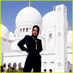 """Rihanna was asked to leave the Grand Mosque in Abu Dhabi over the weekend after posing for photographs """"considered to be at odds with the sanctity of the site,"""" according to THR. Read more on JustJared.com! Abu Dhabi, Paris Hilton, Kendall Jenner, Star Hollywood, Kardashian, Photos Rihanna, Rihanna Cover, Rihanna Style, Grand Mosque"""