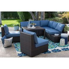 Belham Living Luciana Bay All Weather Wicker Sofa Sectional Patio Dining Set - Patio Dining Sets at Hayneedle
