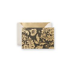 Vera Wang Distressed Foil Paisley Notes: A brassy paisley pattern makes a bold statement on these charcoal-hued notes. Gold foil takes a hit of distress and makes a splash on saturated hues that feel both sharp and current.
