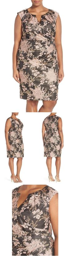 """Adrianna Papell. Metallic Jacquard Sheath Dress (Plus Size). A floral jacquard with a golden shimmer lends an opulent look to a sleeveless sheath dress that goes elegantly from day to night. The split-neck surplice bodice is softly gathered to pleats at the side. 43"""" length (size 18W). Hidden back-zip closure. Surplice split neck. Sleeveless. Stretch lining. 86% polyester, 12% metallic fibers, 2% spandex. Dry clean. By Adrianna Papell; imported. Encore."""