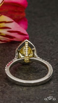 Yellow Pear Halo Engagement Ring with Secret Diamond Details. Green Lake Jewelry 123170