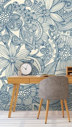 Flowers and Doodles Blue Wall Mural | Wallsauce US