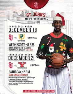 "St.John's Basketball ""Ugly Sweater Night"" Ticket Promotion - Well done Mekale"