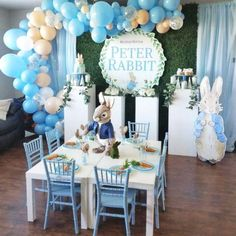 baby boy birthday party Can you believe this fabulous balloon garland? Don't miss this adorable Peter Rabbit birthday party! View all 8 party photos by Boys First Birthday Party Ideas, Pink And Gold Birthday Party, Baby Boy 1st Birthday Party, Birthday Party Themes, Balloon Birthday, Peter Rabbit Birthday, Peter Rabbit Party, Peter Rabbit Balloons, Baby Shower