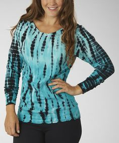Take a look at this Cerulean Raglan Off-Shoulder Tee - Women by Marika on #zulily today!