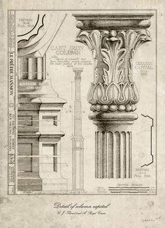 Column Vintage neo retro column architecture por SoulArtCorner                                                                                                                                                                                 Más