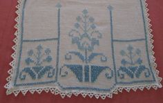 Table Runner Vintage Linen With Cross by VintageLinenGallery