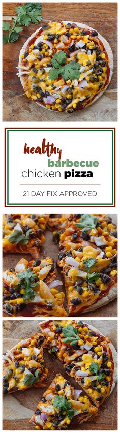 This BBQ Chicken Flatbread Pizza is smothered with beans, onions, barbecue sauce, and cheese, and it's only 308 calories per serving! Get the recipe here. // healthy recipes // pizza recipes // summer // lunches // dinners // cheat clean // Beachbody // BeachbodyBlog.com