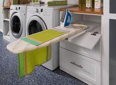 Ironing board. For those short on space, a drawer ironing board can give you the benefits of a built-in board without taking up wall or cabinet space. You'll never have to wrestle with a squeaky freestanding board again. These are easy to retrofit into budget remodels, too.