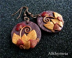 Underbrush and other leaves - polymer clay - Alkhymeia, polymer clay and wire work creations