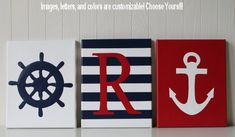 Nautical Nursery Decor Ship's Wheel Anchor Personalized Nursery Letters Baby Name Navy Red White Nautical Wall Art Nautical Painting
