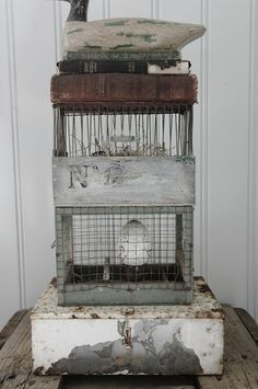 Our lead designer has been talking all day about getting pet chickens. the rest of us like this idea better!D Vintage Interiors, Vintage Antiques, The Caged Bird Sings, Shabby Chic Farmhouse, Bird Cages, Decoration, Decorative Accessories, Display, Tweet Tweet