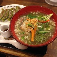 A  ramen aficionado might scoff at the idea of a meatless broth. That pork or chicken essence, I'm told, is what gives ramen its characteristic hearty kick. There are, ...