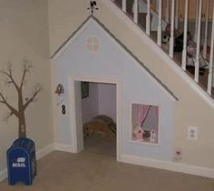 Under stairs play house/dog house Space Under Stairs, Play Houses, My Dream Home, Kids Playing, Future House, Sweet Home, New Homes, Home And Garden, House Design