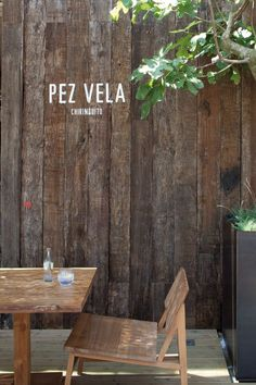 Pez Vela restaurant, Barcelona, #cafe #signage, backyard patio inspiration, Photo: Jordi Sarrà