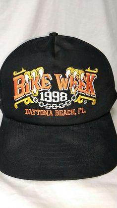ef2a42baae9ce  19.96 or best offer Daytona Beach Bike Week Cap 1998 Black Embroidered  Snapback Hat Capsmith  hats  motorcycle  vintage