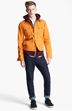 Topman Corduroy Collar Denim Jacket | Nordstrom