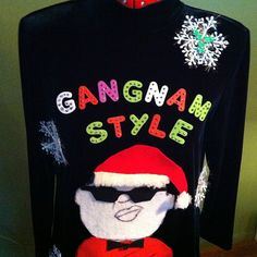 This Psy-Inspired Sweater Dress: | 13 Ugly Holiday Sweaters That Are Almost Too Ugly To Wear Ugly Holiday Sweater, Ugly Sweater Party, Christmas Sweaters, Xmas Shirts, Humor, Being Ugly, Funny Quotes, Merry, Graphic Sweatshirt