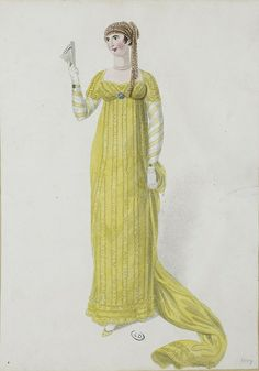 A yellow trained gown 1807