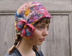 #ooak colorful nuno felted #handmade hat with pink flower by filcAlki on #Etsy