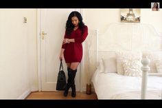 Oversized knit sweater dress paired with thigh high black boots. Cute fall outfit