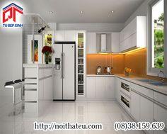 Tủ bếp Acrylic kết hợp quầy bar thiết kế nhẹ nhàng, tinh tế PTM-11