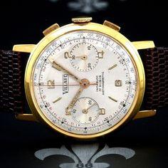 Proessionally Restored VILLARD Swiss Vintage Chronograph Watch Landeron Cal. 248