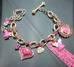 New Betsey Johnson Gold Plated Bling Crystal Enamel Charm Heart Bracelet .#BJ607