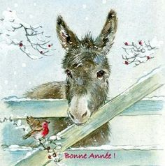 Sweet little donkey painting  with little bird in the snow. Platero