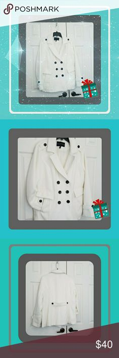 Ladies Winter White Peacoat Beautiful Winter White Peacoat With Black Buttons  Beautiful Back Details  Shoulders, arm, and back tabs Shell 94% polyester, 5% rayon ,1% spandex,  Dry Clean Only I. B. DIFFUSION Jackets & Coats Pea Coats