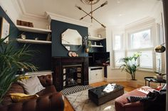 Dark Living Rooms, My Living Room, Living Room Interior, Victorian Terrace Interior, Victorian Living Room, Small Terrace, Reno, Living Room Designs, Interior Design