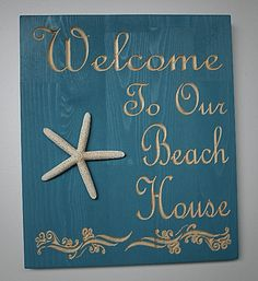 A really lovely carved sign for your beach house!