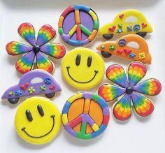 Cookies in Chicago ( Summer Cookies, Fancy Cookies, Iced Cookies, Cut Out Cookies, Cute Cookies, Hippie Birthday Party, Hippie Party, 50th Birthday, Birthday Ideas