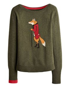 Joules null Womens Intarsia Jumper, Fox.                     Crafted for a super-soft feel and adorned with a cool animal intarsia that is guaranteed to raise a smile whenever it makes an appearance, this jumper is great to add a bit of character to your wardrobe.